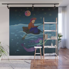moon, fisherman and mermaid Wall Mural