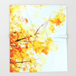 Yellow Maple leaves, Autumn Unfolds Throw Blanket