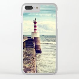 Amble Pier Lighthouse Clear iPhone Case