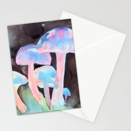 Mushrooms in Pink Stationery Cards