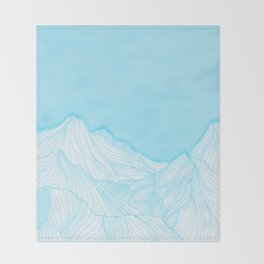 Lines in the mountains - Aqua Throw Blanket