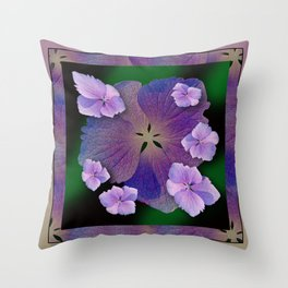 LACECAP HYDRANGEA FLOWER BOUQUET  Throw Pillow
