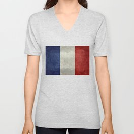 French Flag with vintage textures Unisex V-Neck