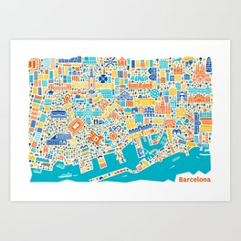 Vianina Barcelona City Map Poster Art Print