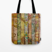 world maps Tote Bags featuring Around the World in Thirteen Maps by Diego Tirigall