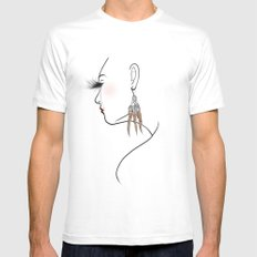Feather Earrings - Modified Mens Fitted Tee MEDIUM White