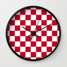 Red and White Check Wall Clock