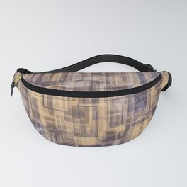 psychedelic geometric square pattern abstract in brown and blue Fanny Pack
