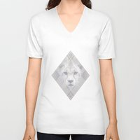 cheetah V-neck T-shirts featuring Cheetah by Jonathan Fraser