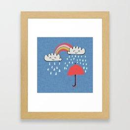 April showers rainbow Clouds Blue #nursery Framed Art Print