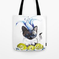 mew Tote Bags featuring Lily Mew by Sarah