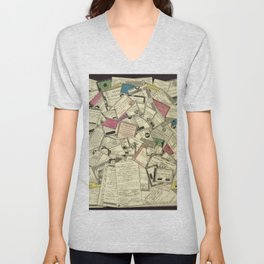 Antique Engraving of French Currency Unisex V-Neck