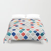 spice Duvet Covers featuring Sea & Spice Moroccan Pattern by micklyn