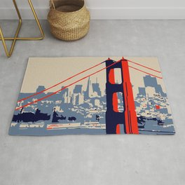 Golden gate bridge vector art Rug
