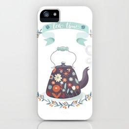 Tea Time Floral Tea Kettle iPhone Case