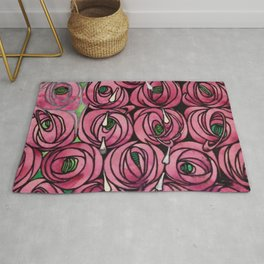 "Charles Rennie Mackintosh ""Roses and teardrops"" Rug"