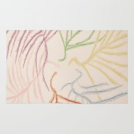 Pastel Coloured Feather Print Rug