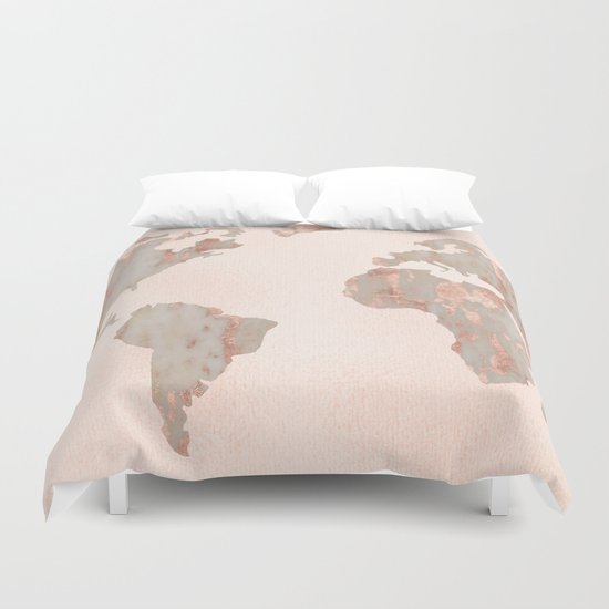 Rose Gold Marble Map Of The World Duvet Cover By Mapmaker