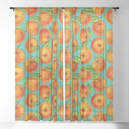 Oranges on turqouise Sheer Curtain