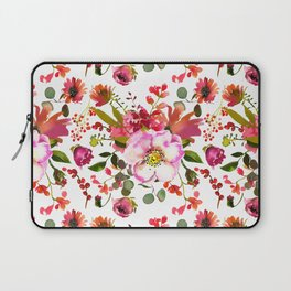 Blush pink orange green watercolor modern roses berries Laptop Sleeve