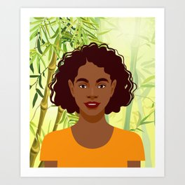 Set of young attractive african american women, Landscape of bamboo stems and leaves background. 2/3 Art Print
