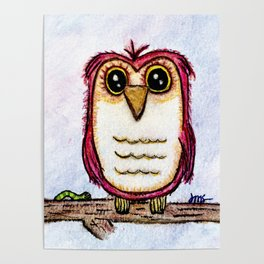 Owl at Rest - Watercolor Poster
