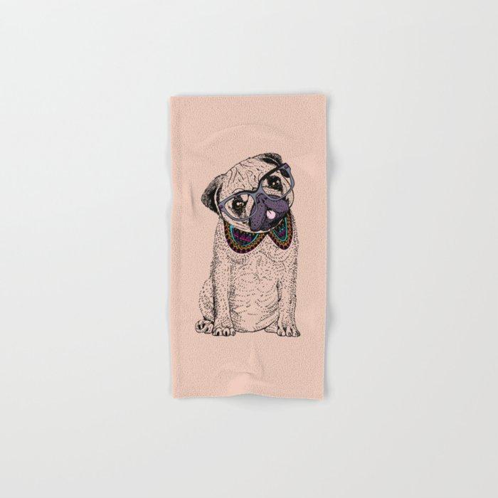 Hipster Pug Hand & Bath Towel