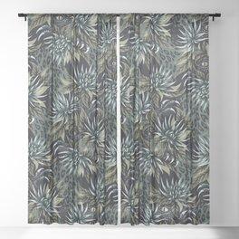 Hidden Creatures - Grey / Khaki Sheer Curtain