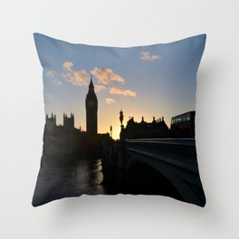 London Sunset Silhouette Throw Pillow