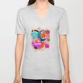 abstract embroidery Unisex V-Neck