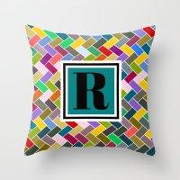 monogram Throw Pillows featuring R Monogram by mailboxdisco
