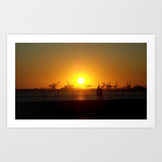 Sunset Couple Art Print