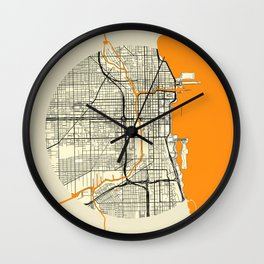 Chicago Map Moon Wall Clock
