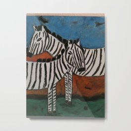 Crossing Zebras Metal Print