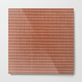 Boho, Mudcloth, Minimal, Line Art, Stripes, Terracotta Metal Print