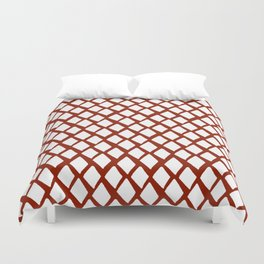 Rhombus White And Red Duvet Cover