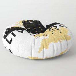 LIVERPOOL ENGLAND SILHOUETTE SKYLINE MAP ART Floor Pillow