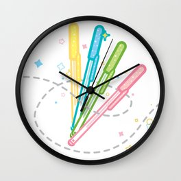 Kawaii Gel Pen Wall Clock