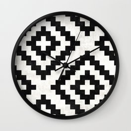 Urban Tribal Pattern No.18 - Aztec - Black and White Concrete Wall Clock