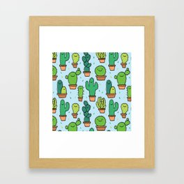 Cute Cactus Cacti Pattern Light Blue Background Framed Art Print