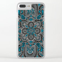 Mandala blue and grey pattern Clear iPhone Case