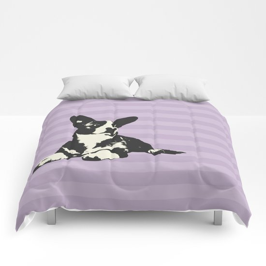 PURPLE STRIPE CORGI Comforters