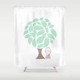 Little Buddha meditating under a tree Shower Curtain