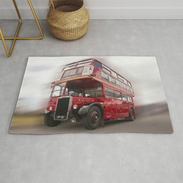 Old Red London Bus Vintage transport Rug