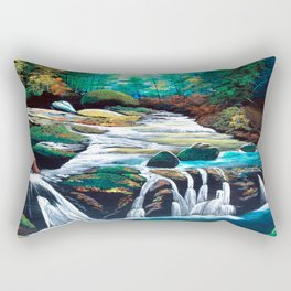 Mountain stream scenery of autumnal leaves Rectangular Pillow