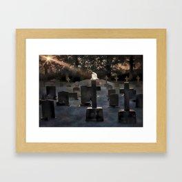 Gravestones and statue Framed Art Print