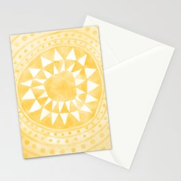 Yellow Tribal Triangle Circle Stationery Cards