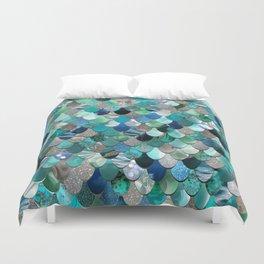 Mermaid Sea, Tea,l Aqua, Silver, Grey Duvet Cover