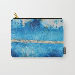 Rainy Day: a pretty minimal abstract mixed media piece in blue & gold by Alyssa Hamilton Art Carry-All Pouch