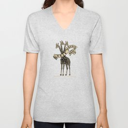 Three-Headed Giraffe Unisex V-Neck